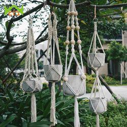 WCIC 90 cm Noués Macrame Hanger Plantes Vintage Coton Lin Pot De Fleur Panier De Levage Corde Pot Porte-Outil de Jardin Suspendu panier