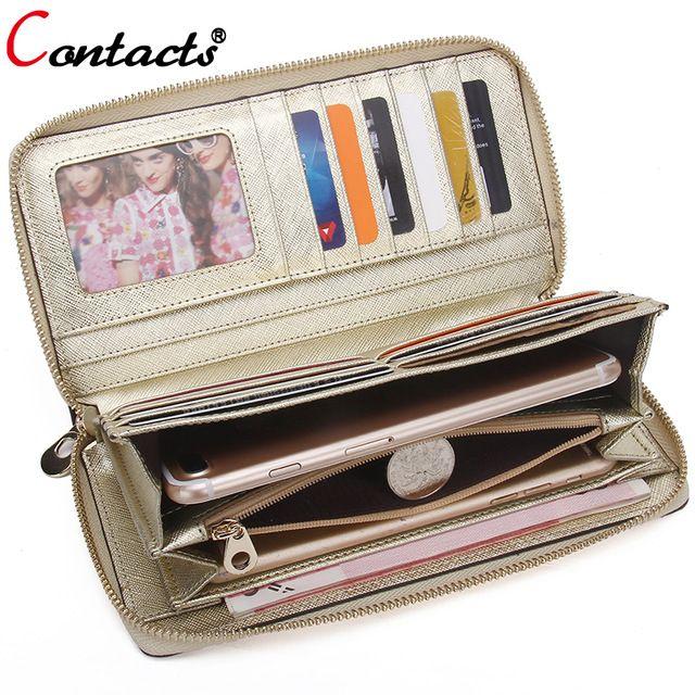CONTACT'S dames en cuir véritable portefeuille femmes portefeuille femme sac à main carte portefeuille or embrayage porte-carte de crédit porte-monnaie téléphone