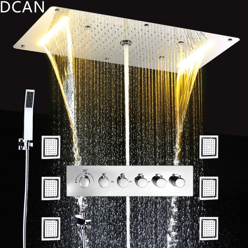 Embed Decke Regen Duschen Set Massage Spray Led Elektrische Power Bad 5 Weg Verbergen Installieren Thermostat Dusche Armaturen