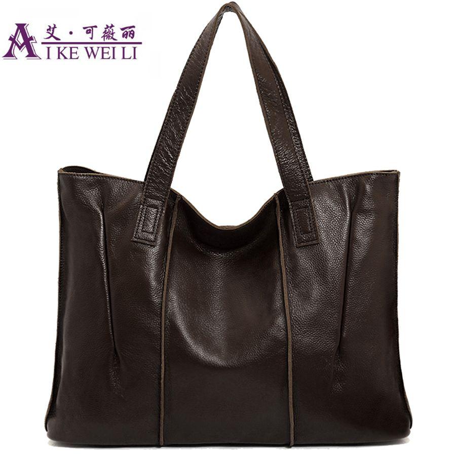 Genuine Leather bag vintage women Tote bag Genuine Leather handbags brown black red green apricot candy color women shoulder bag