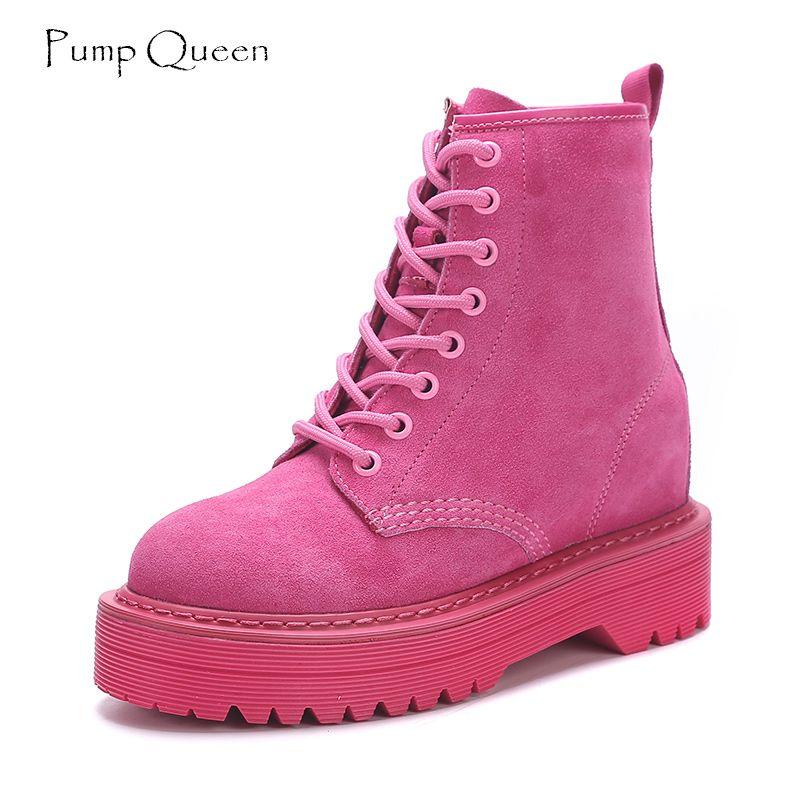 Модные Розовые Ботильоны для Для женщин танкетке ботинки Martin увеличивающие рост женская обувь на платформе 2018 в стиле панк замши Кружево до