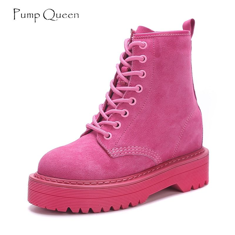 Fashion Pink Ankle Boots For Women Wedge Martin Boots Increasing Platform Female Shoes 2018 Punk Style Suede Leather Lace Up
