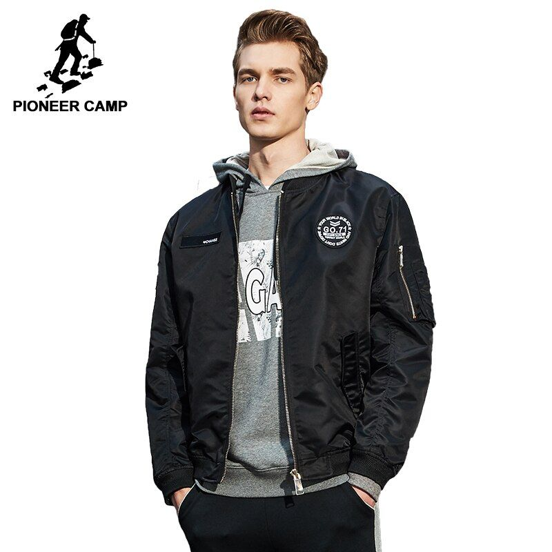 Pioneer Camp bomber jackets men brand-clothing windbreaker male pilot jacket coat quality outerwear black army green AJK707001