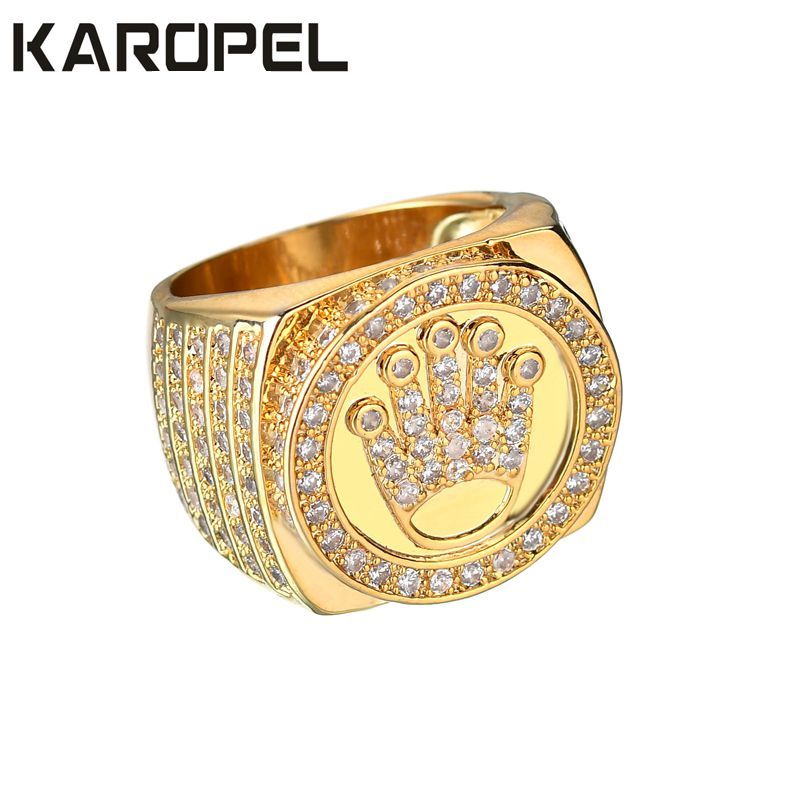 Karopel Hip Hop Bling Jewelry King <font><b>Crown</b></font> Father's Day Gift For Men Bling Bling Micro Pave CZ Gold Color Zircon Ring