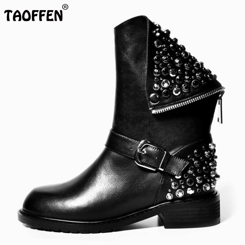 Real Genuine Leather Boots Rivet Square Heels Autumn Winter Ankle Boots Sexy Martin Fur Snow Boots Shoes Woman Size 34-39 N00105