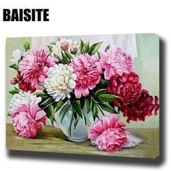 BAISITE DIY картина маслом в рамке по номерам цветы картины холст живопись для гостиной стены искусства домашний декор E781