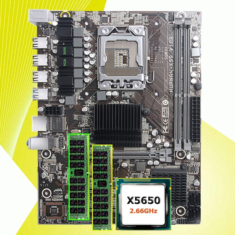Rabatt motherboard HUANAN ZHI X58 LGA1366 motherboard mit CPU Intel Xeon X5650 2,66 ghz RAM 16g (2 * 8g) REG ECC 2 jahre garantie