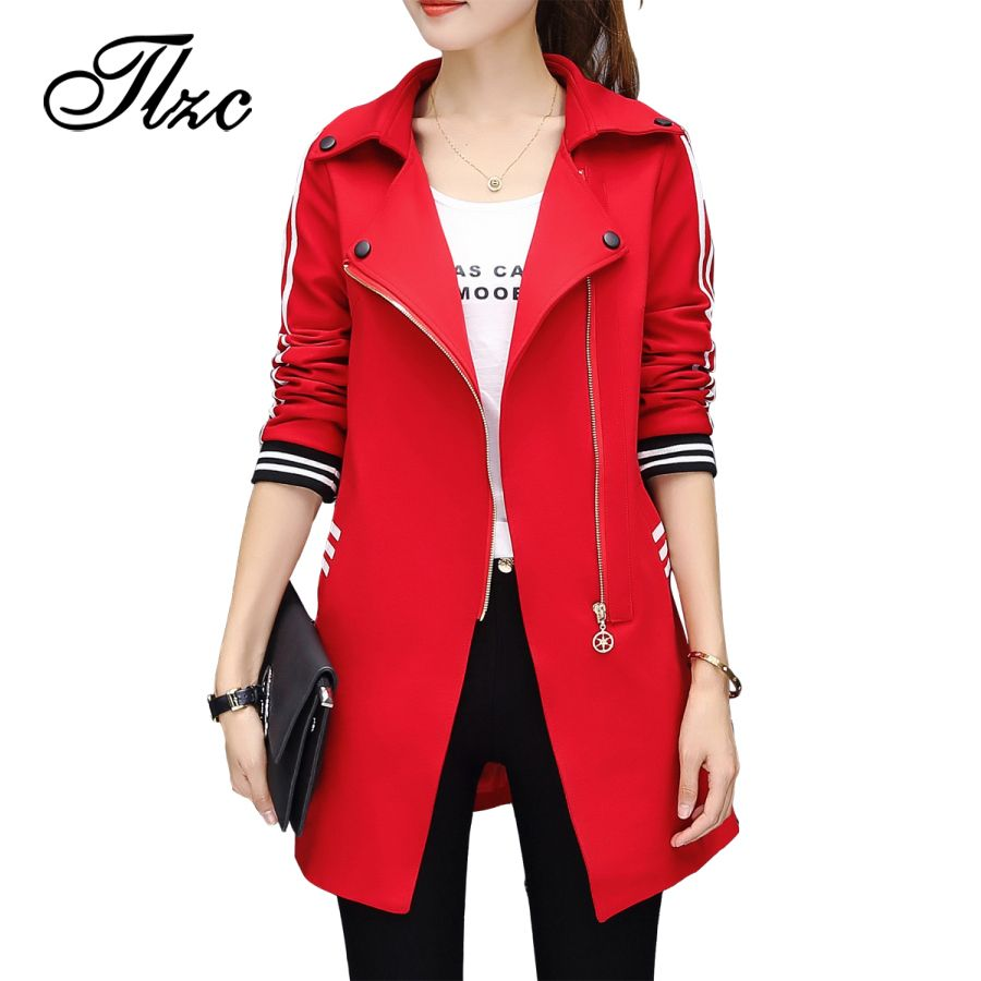 TLZC Autumn Winter High Street Woman <font><b>Trench</b></font> Coat Fashion 2017 Lady Casual Outwear Plus Size M-4XL Female Loose Clothing