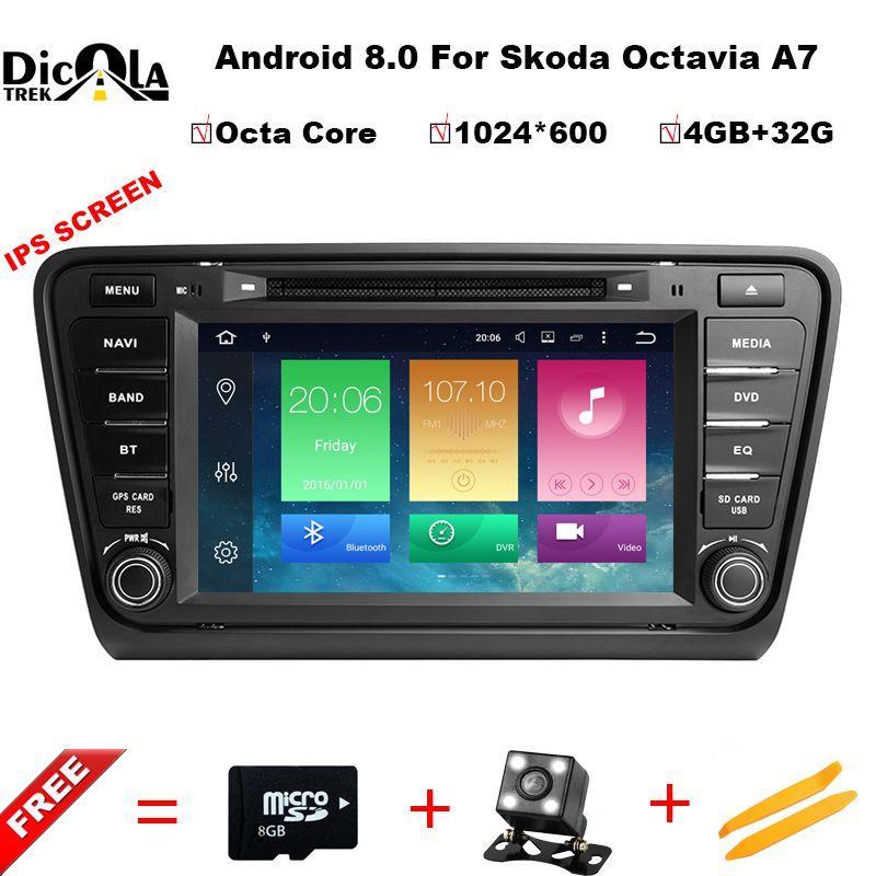 Octa Core 4+32G IPS Android 8.0 car audio FOR SKODA Octavia A7 2014-2017 car dvd player head device car multimedia car stereo