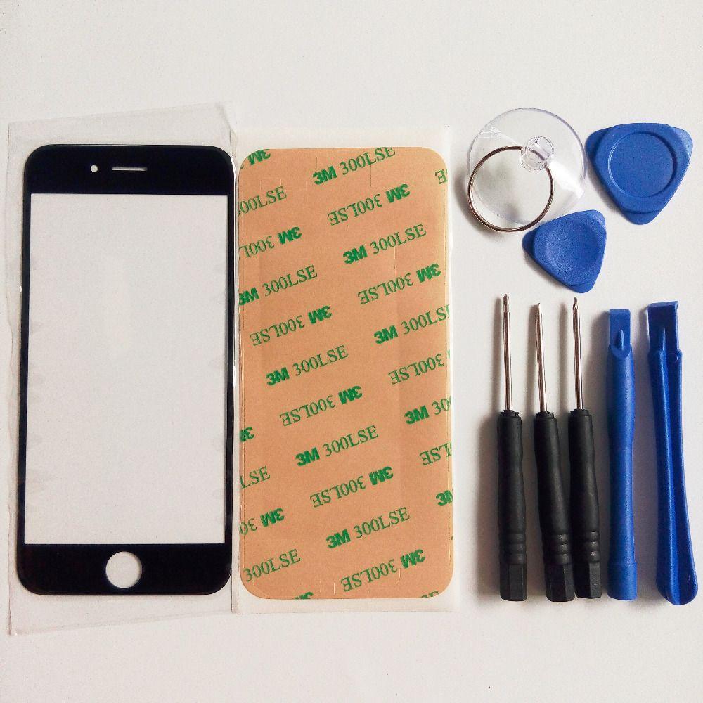 Avant Outer Lentille En Verre pièce de rechange pour iphone 5 5S 5C 6 6 S plus 4 4S Top LCD Écran Tactile & outils & 3 M autocollant adhésif