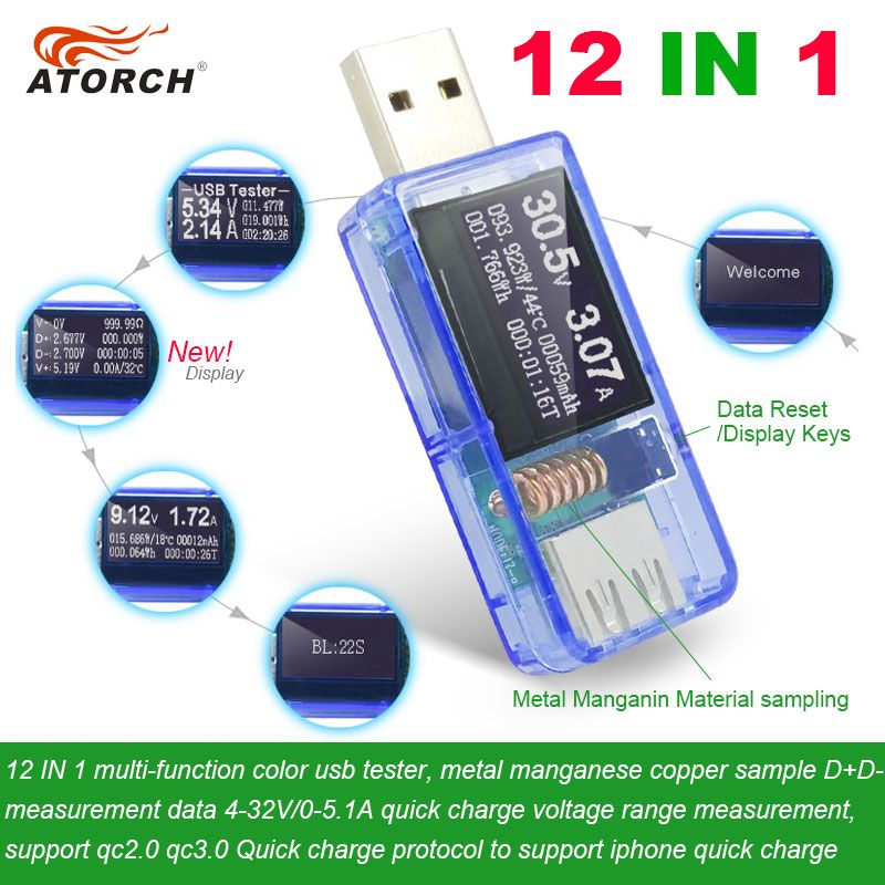 ATORCH 12 in 1 USB tester DC Digital voltmeter amperimetro voltagecurrent meter ammeter detector power bank charger indicator