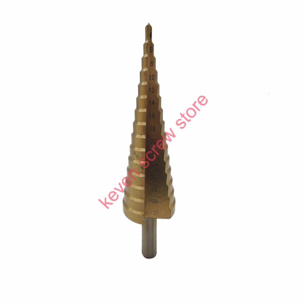 1 шт./лот 4-32 мм Профессиональные hss Сталь большой шаг конуса Титан металла с покрытием Бурильные долото Cut Набор инструментов отверстие резак