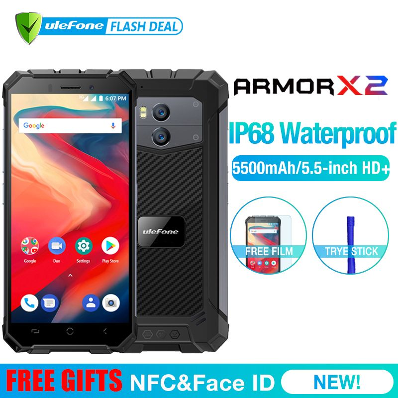 Ulefone Armure X2 Étanche IP68 3G Smartphone 5.5 HD Quad Core Android 8.1 2 GB + 16 GB NFC Visage ID 5500 mAh Double Cam téléphone portable