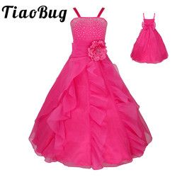 TiaoBug Kids Girls Sleeveless Prom Gown Flower Girl Dresses Princess Wedding Communion Graduation Party Dress with Bowknot 2-14Y