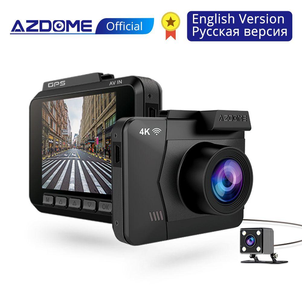 AZDOME M06 WiFi Errichtet in GPS Dual Lens FHD 1080 P Vorne + VGA Hinten Kamera Auto DVR Recorder 4 K Dash Cam Dashcam WDR Nachtsicht