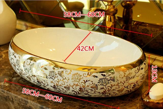 Oval Bathroom Lavabo Ceramic Counter Top Wash Basin Cloakroom Hand Painted Vessel Sink 5051