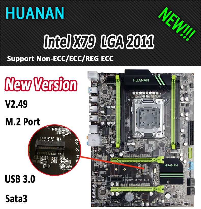 HUANAN golden V2.49 X79 motherboard LGA2011 ATX USB3.0 SATA3 PCI-E NVME M.2 SSD port support 4 x 16G memory tested