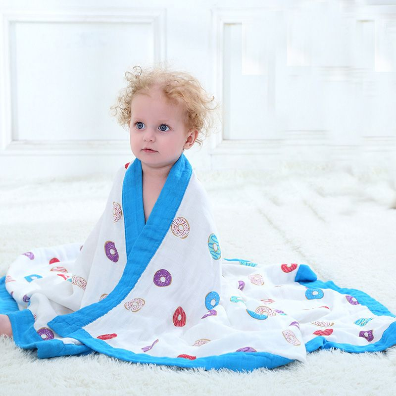 Bamboo Fiber Cotton Baby Muslin Swaddle For Infant Baby Bedding Sheet Bath Towel 2 Layers Baby Blanket For Newborns