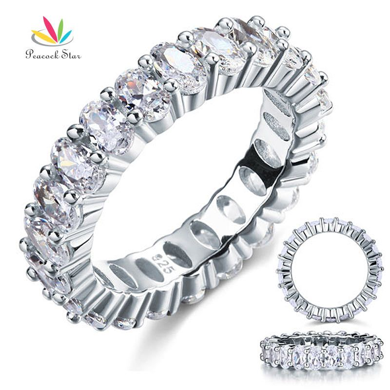 Peacock <font><b>Star</b></font> Oval Cut Eternity Solid Sterling 925 Silver Wedding Ring Band Jewelry CFR8069