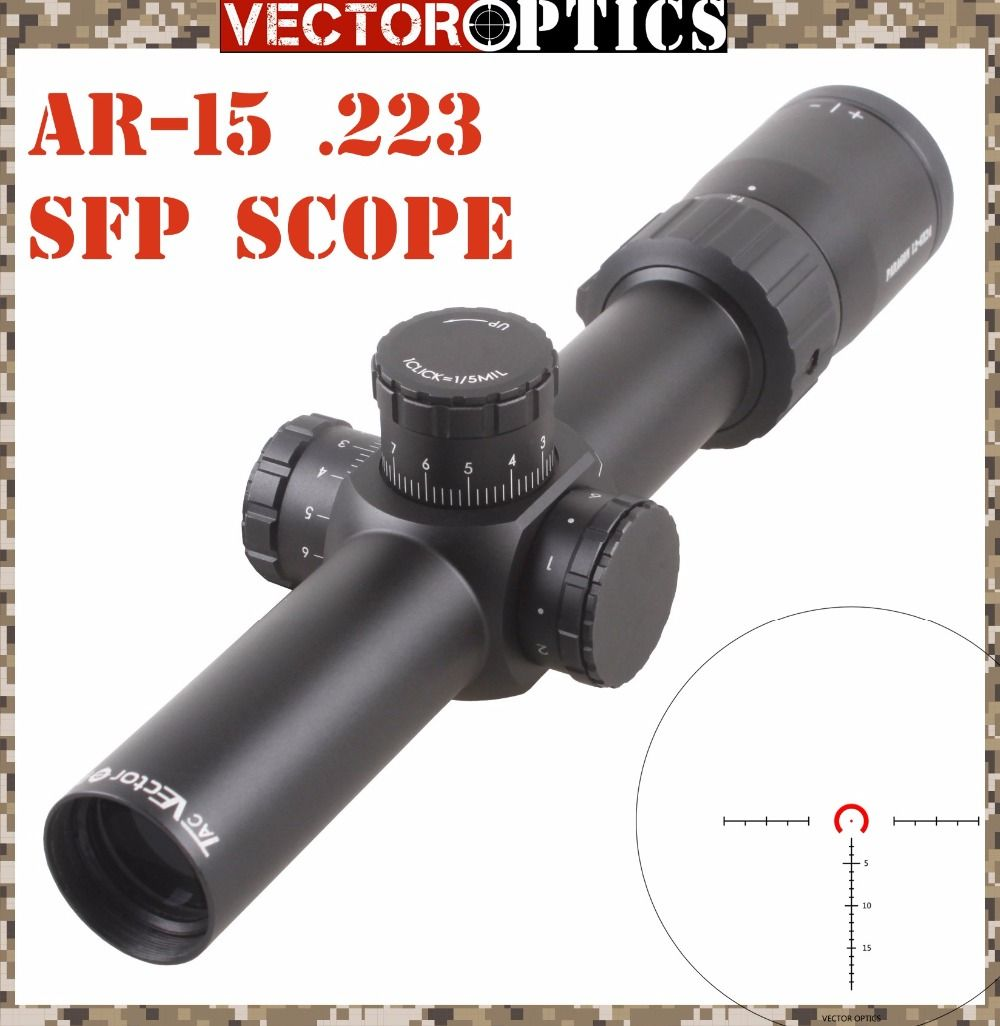 Vector Optics Paragon 1.2-6x24 Tactical AR15 M4 Rifle Scope Telescopic Sight with .223 5.56 BDC Glass Reticle 1/5 MIL Turret