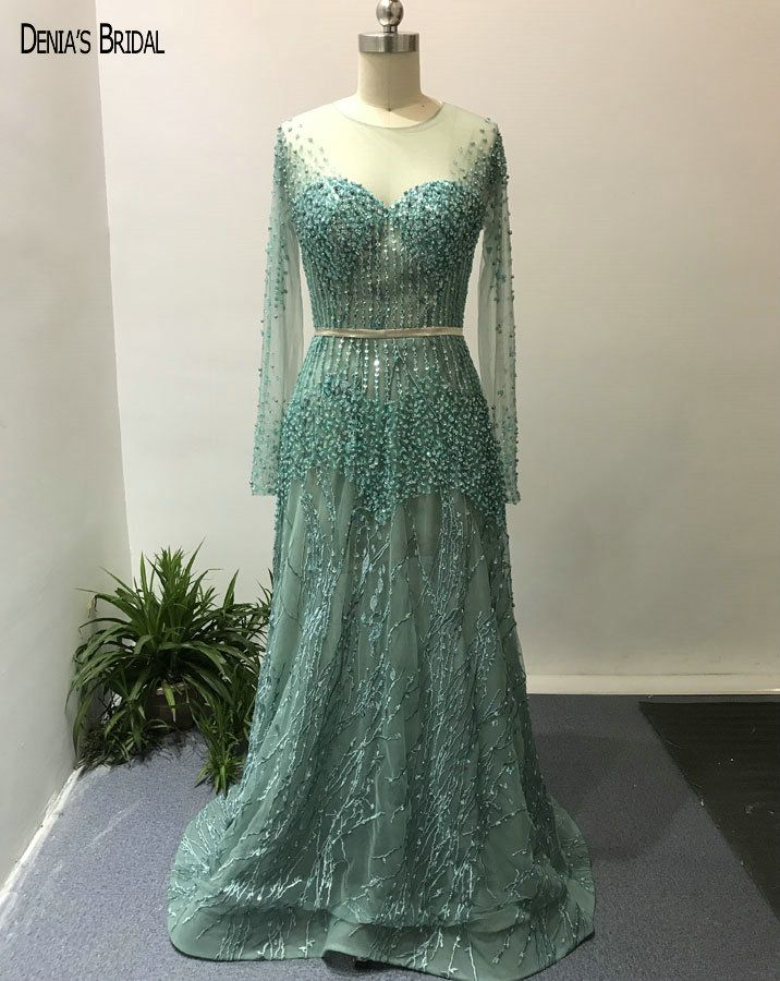 2018 Mermaid Green Evening Dresses with Scoop Neckline Beaded Embroidery Lace Floor Length Sweep Train Party Prom Gowns