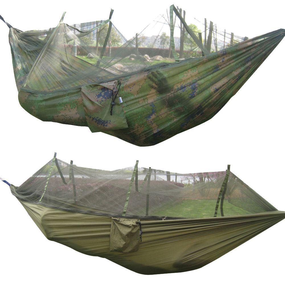 Tragbare Gefaltet 300 kg Maximale Belastung Reise Dschungel Camping Outdoor Hängematte Hängen Nylon Bett + Moskitonetz Armee Grün/Camo