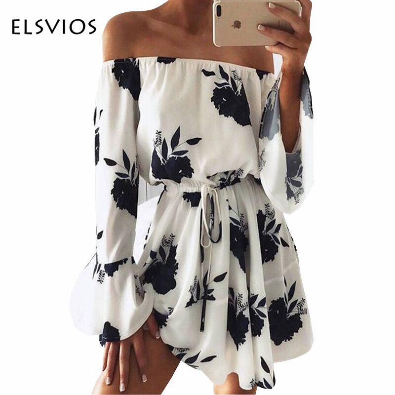 ELSVIOS 2017 été robe imprimée florale Sexy hors de l'épaule Slash cou robe de plage manche évasée décontracté femmes robe Vestidos