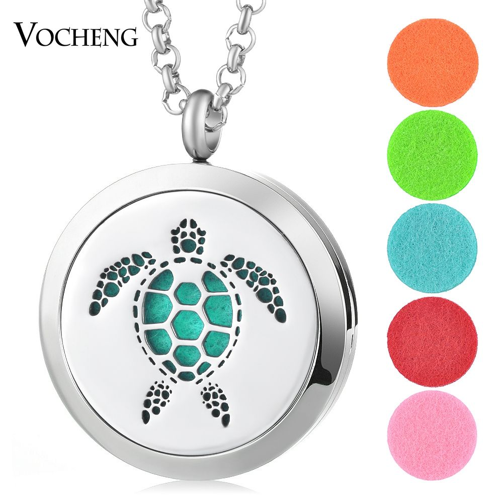 30mm Essential Perfume Oil Diffuser Locket 316L Stainless Steel Turtle Magnetic Randomly Send 5pcs Oil Pads as Gift VA-405