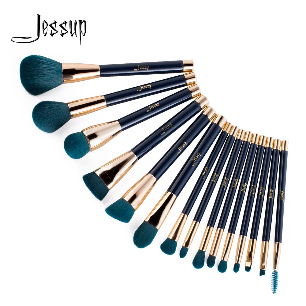 Jessup 15pcs Blue/Purple maquiagem profissional completa Foundation Eyeshadow Eyeliner Lip Contour Make up brush set T113/114