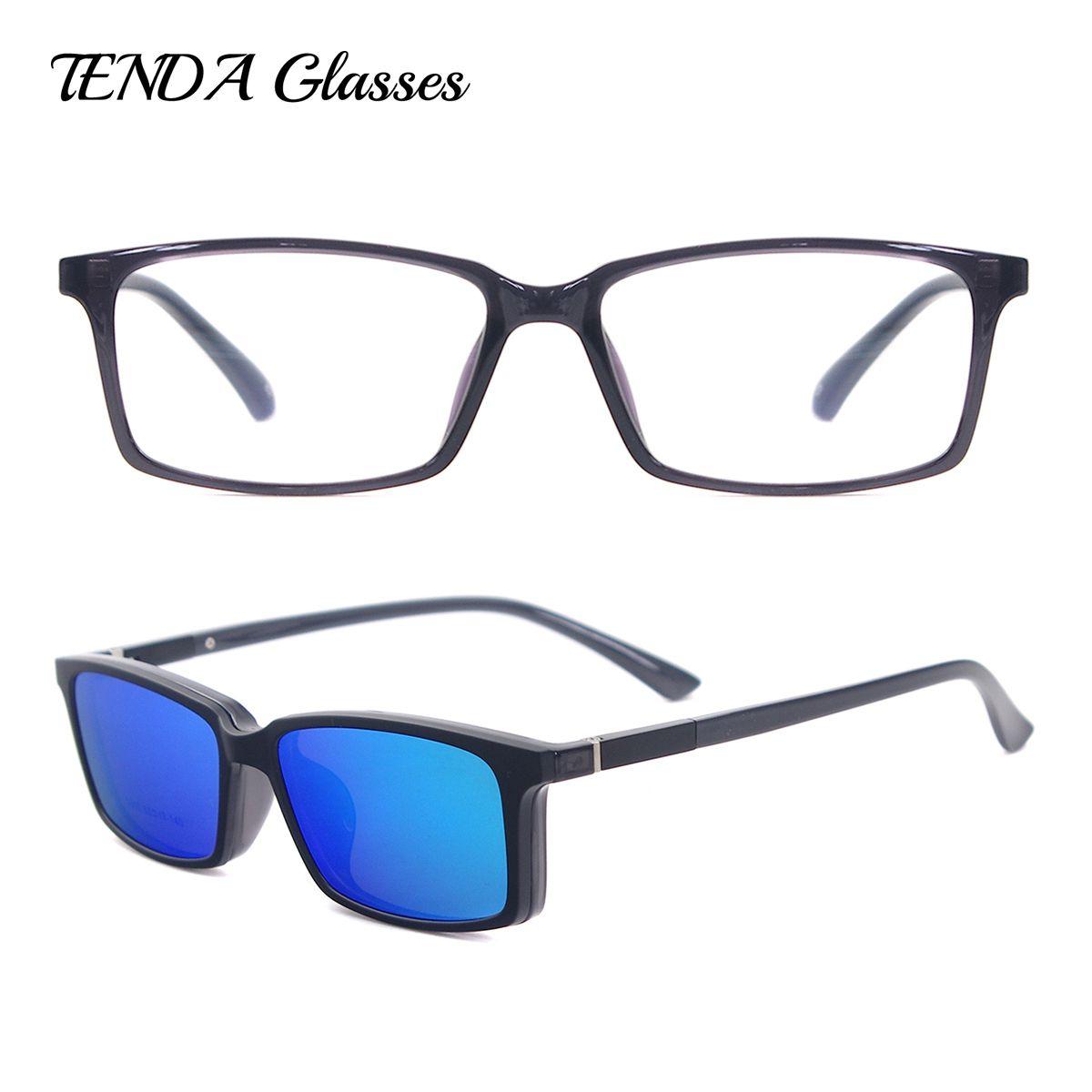 TendaGlasses Léger Flexible Rectangulaire TR90 Hommes Femmes Prescription De Lunettes Cadre avec Polarisées Clip Sur des lunettes de Soleil