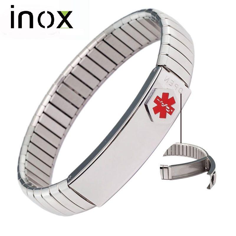 Inox Bijoux ID Bracelet Élastique En Acier Inoxydable Alerte Médicale Bracelet pour Hommes Femmes Personnalisé Personnalisé Carte Médicale