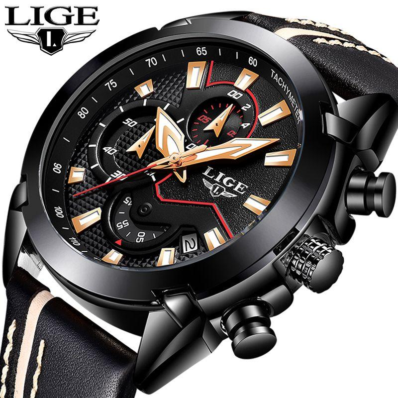 New Fashion LIGE Brand Watch Men Leather Business Chronograph Quartz sport Watch Male waterproof Gifts Clock Relogio Masculino