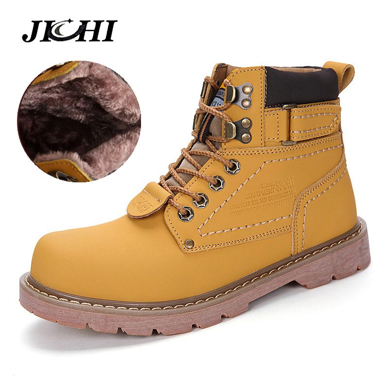 JICHI Fashion Super Warm Men Martin Boots Couples Winter Casual Rubber Snow Boots Leather High Top Ankle Boots Men Leisure Shoes