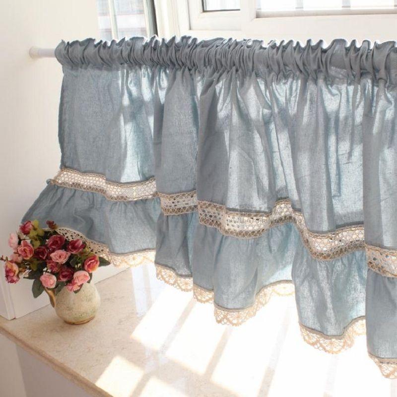 Livraison gratuite dentelle bleue juxtaposition ourlet court rideau café rideau cuisine rideaux pour salon chambre W 175 cm H 50 cm