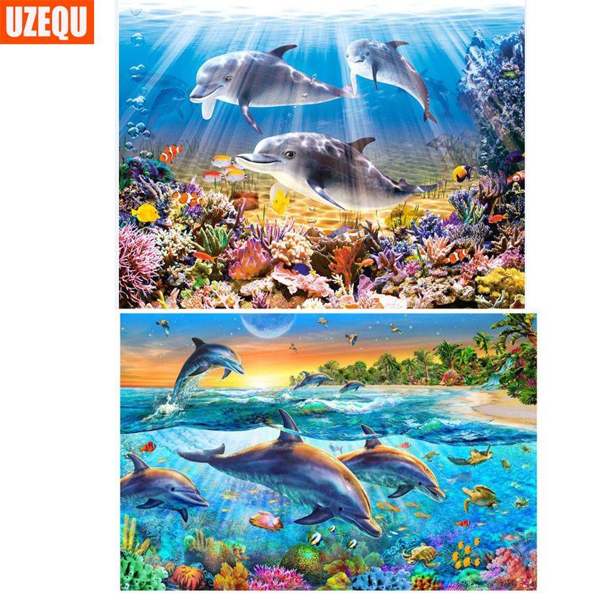UzeQu Full Diamond Embroidery Submarine World 5D DIY Diamond Painting Cross Stitch Sea Dolphin Diamond Mosaic Rhinestones Decor