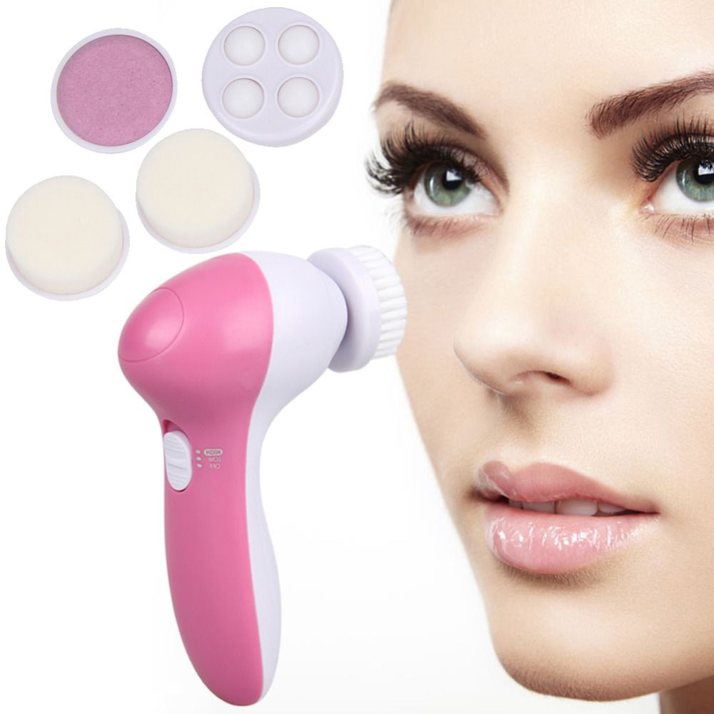 Hot! Deep Clean 5 In 1 Electric Facial Cleaner Face Skin Care Brush Massager Waterproof Spin Body Cleansing Facial Pore Cleaner