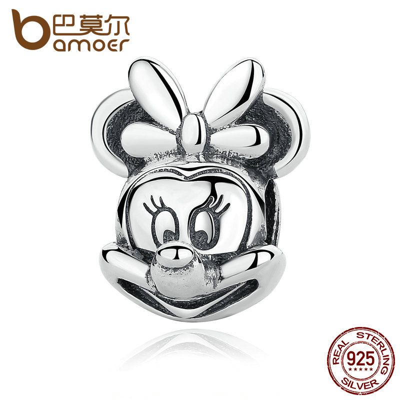 BAMOER Baby Gift 925 Sterling Silver Minnie Portrait Beads Charms with Knot fit Bracelets Women Fine Jewelry PAS322