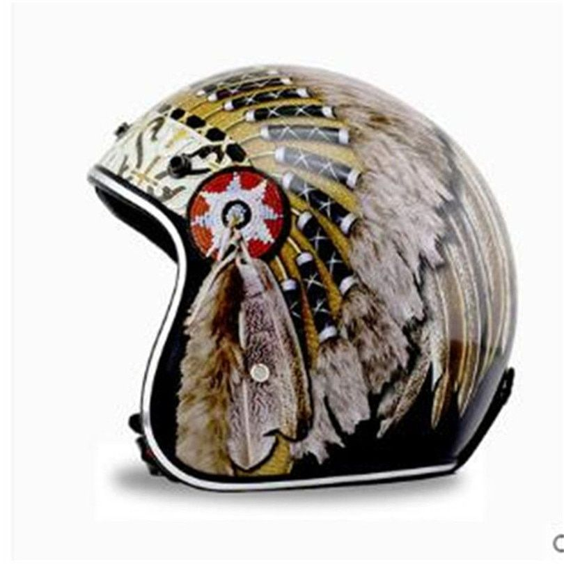 Hot sale colorful Indian Harley Motorcycle Helmets half face Personalized locomotive open face Helmet DOT Approved