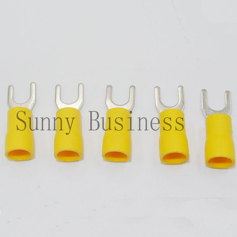 Different Price 500PCS 12-10AWG #8 Yellow Insulated Fork Wire Connector Electrical Crimp Terminal