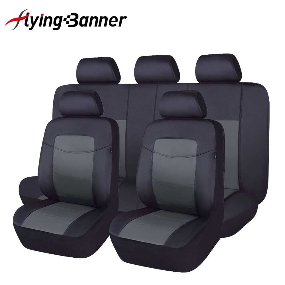 Black Full Set PU Leather Car Seat Cover Universal Fit Most SUV Front & Rear Seat Decoration Automobiles Seat Cover