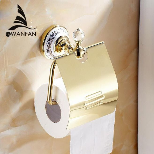 Paper Holders Fashion Crystal Silver Paper Holder Bathroom Accessories Product Wall-mounted Brass Toilet Paper Holder 6310