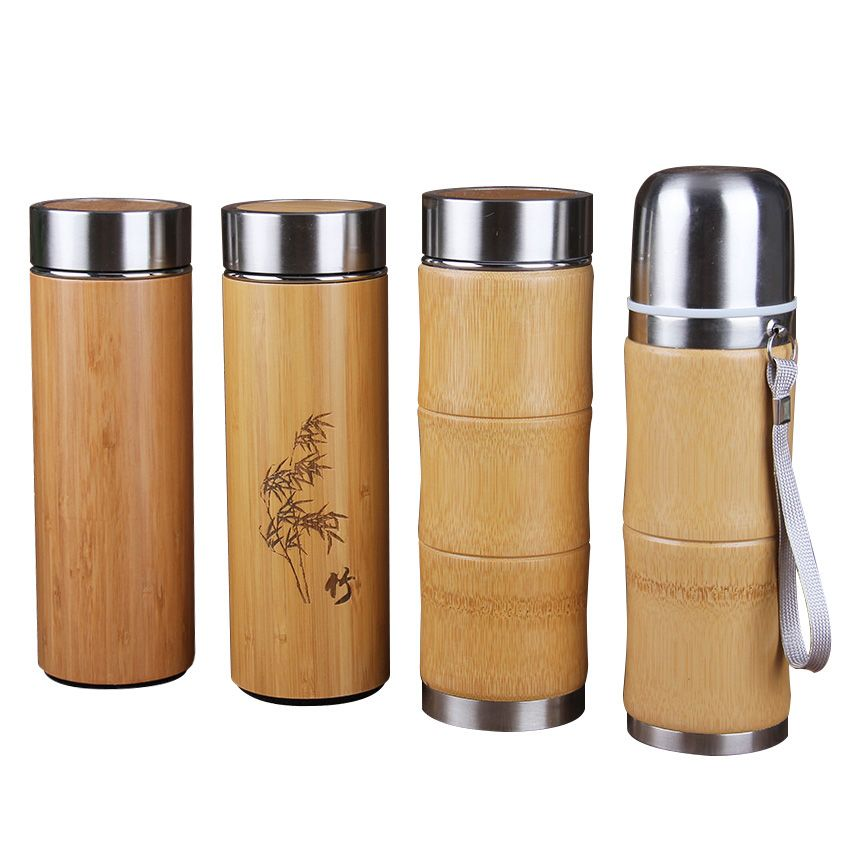 400 мл Bamboo Нержавеющаясталь термос Бутылочки для воды термосы путешествия Кофе Чашки Чай Термальность thermocup новые творческие