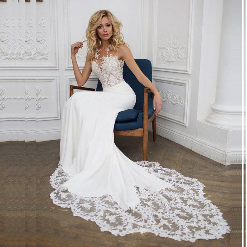 LORIE Boho Wedding dress O-Neck Appliques Lace Mermaid Wedding Gown with Small Train White Ivory Beach Bride Dress Free Shipping