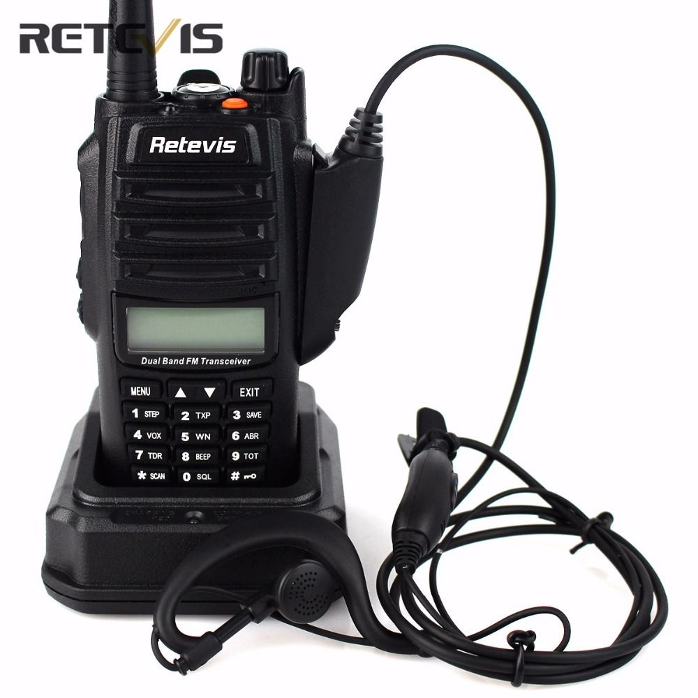 IP67 Professional Walkie Talkie Retevis RT6 Waterproof 5/3/1W Dual-Band VHF UHF Portable Radio Flashlight Two Way Radio