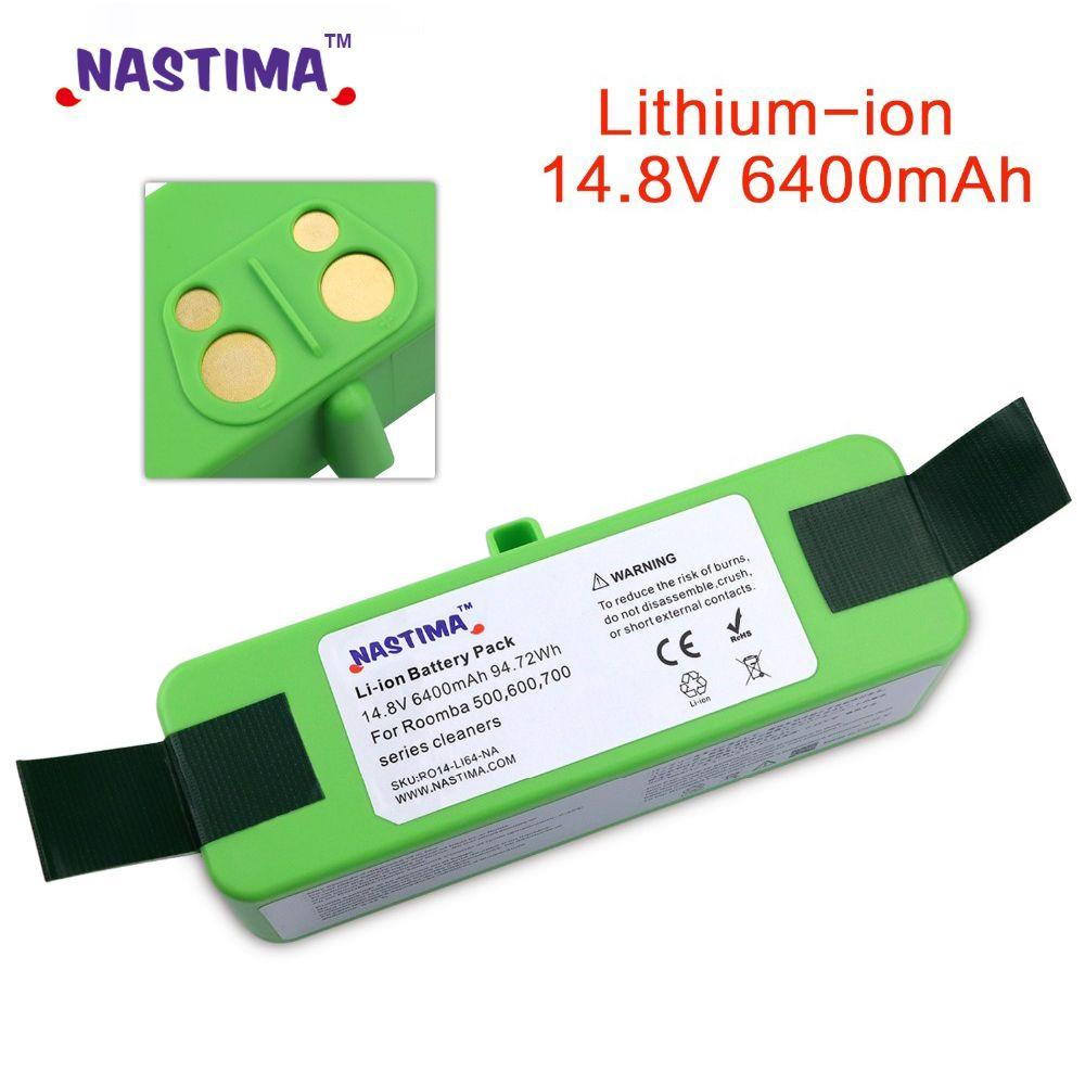 NASTIMA 14.8 v 6400 mAh Batterie Au Lithium Pour iRobot Roomba Nettoyeur 500, 600, 700, 800, 980 Série-600 620 650 700 770 780 880 980