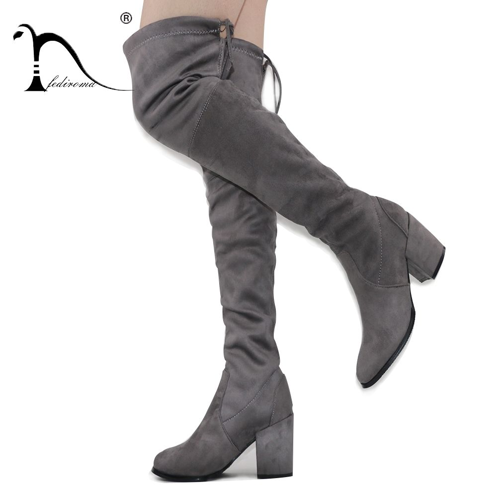 FEDIROMA New Arrive Over the Knee Boots Woman Suede 8.5CM High Heel boots 52CM <font><b>Tube</b></font> High Heel shoes