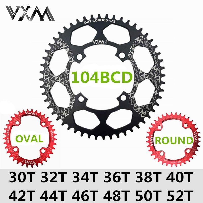 VXM vélo 104BCD manivelle ovale ronde 30 T 32 T 34 T 36 T 38 T 40 T 42 T 44 T 46 T 48 T 50 T 52 T XT roue à chaîne étroite large vtt vélo plateau