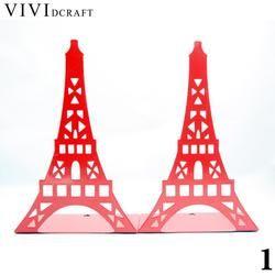 Vividcraft Kreatif 1 pair Menara Eiffel Bookends Buku Berdiri Cat Besi Pemegang Berdiri untuk Buku Sekolah Siswa Kantor Organizer