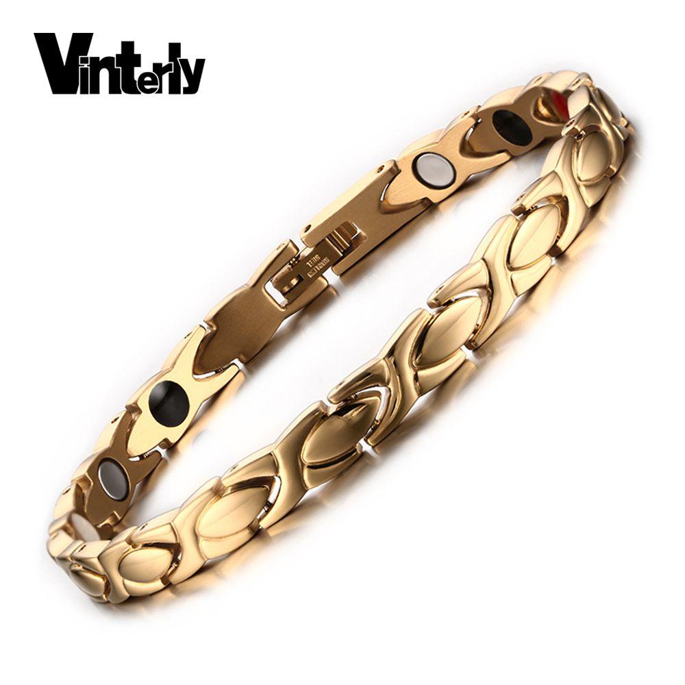 Vinterly Or Couleur Bracelets pour Femmes Chaîne D'énergie Magnétique Bracelet Femme En Acier Inoxydable Bracelets & Bangles Femmes Bijoux