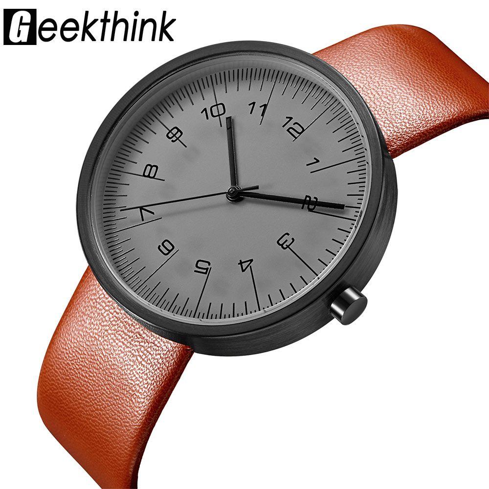 GEEKTHINK Top Luxury Brand Hombres Reloj de Cuarzo de Moda Casual correa de Cuero del cuarzo de Japón-Clásico reloj Creativo reloj Masculino